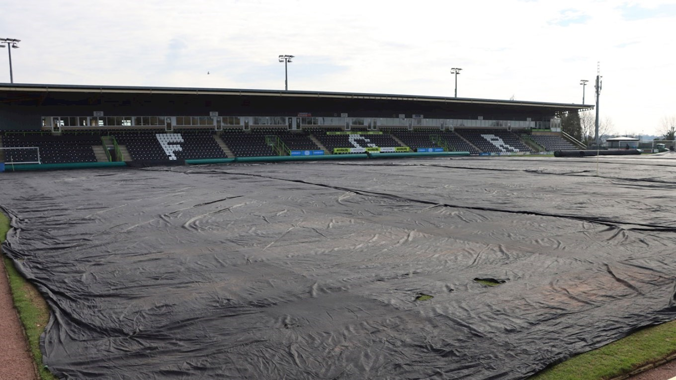 A photograph of Forest Green Rovers' pitch