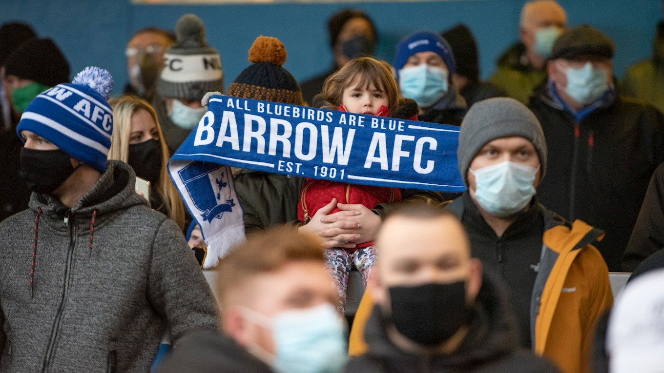 A photograph of Barrow fans